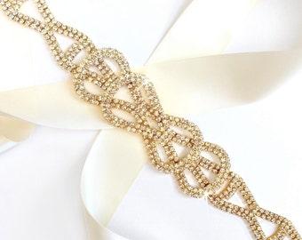 Sash - Gold Rhinestone Bow Wedding Dress Sash - Gold Rhinestone Encrusted Bridal Belt Sash - Crystal Extra Wide Wedding Belt