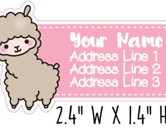 Cute Kawaii Llama Address Labels