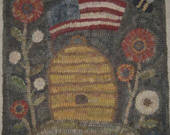 Primitive Rug Hooking Pattern-Americana Beehive