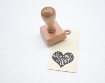 All You Need Is Love rubber stamp for DIY wedding and card making - H0013