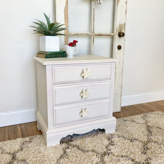 Small White Nightstand for Girls Bedroom - Farmhouse or Coastal Furniture perfect for Kids Room or Guest Room - Shabby Distressed Furniture