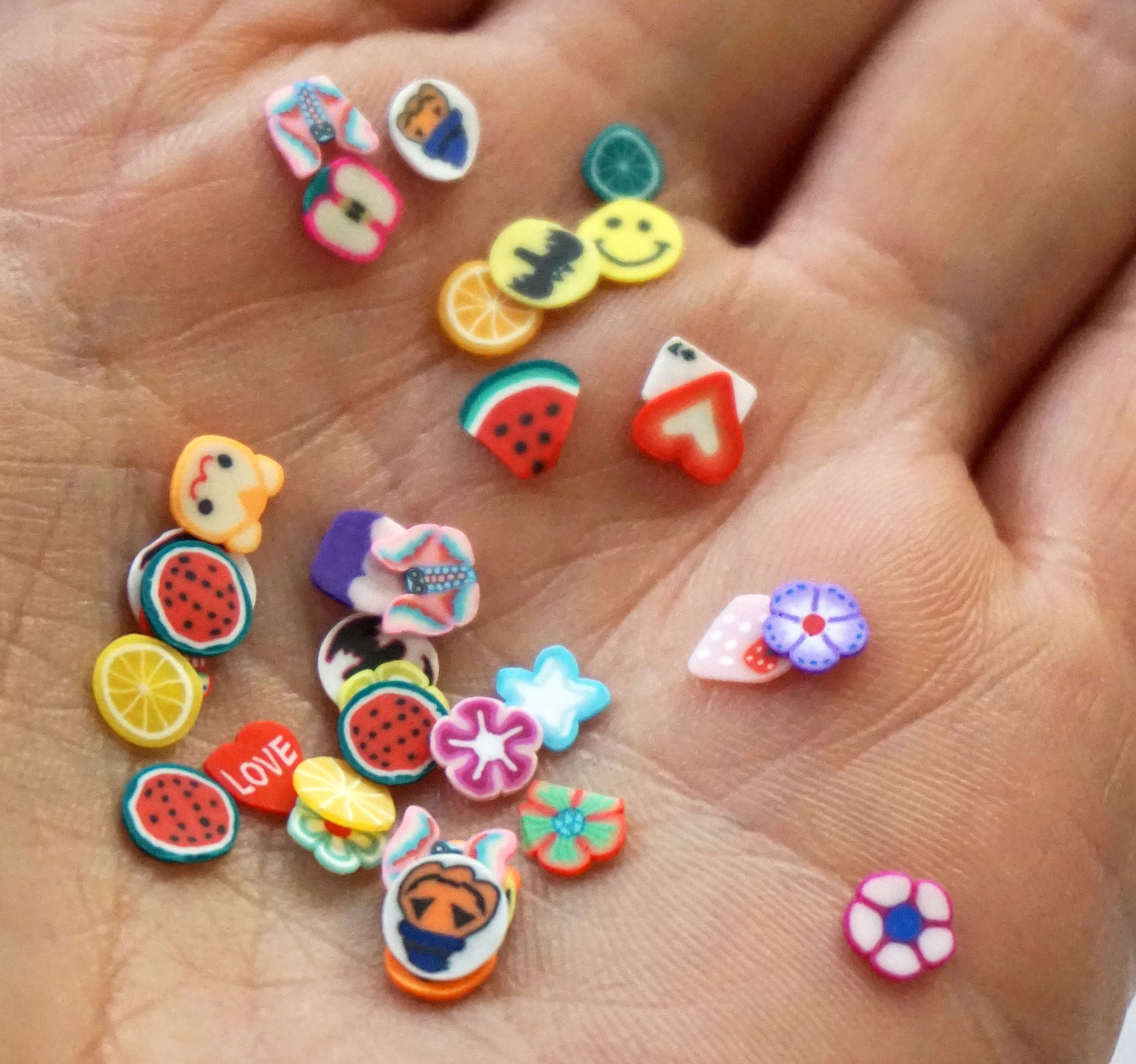 1000 PIECES 3D FRUITS Fimo Slice Polymer Clay Nail Art Decor Slime ...