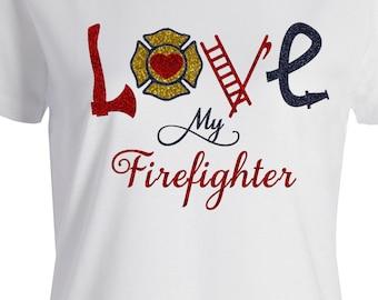 Love my Firefighter 3 color glitter vinyl t-shirt