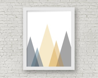 Geometric Mountains No. 2 Digital Wall Art, Printable Home Decor, Printable Art