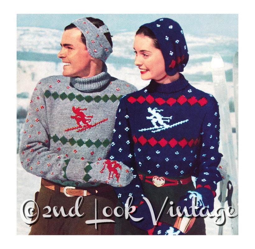 Vintage Knitting Pattern 1950s Ski Sweater Skier Nordic