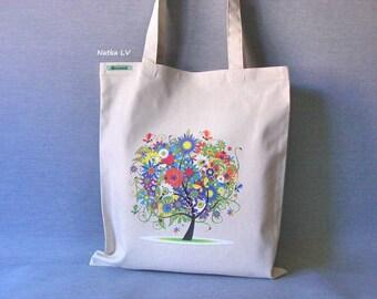 Linen tote bag with tree, natural white shopping bag, summer bag, grocery bag, canvas bag, market bag, beach bag, eco bag, handmade bag