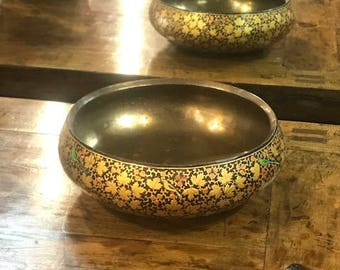 Goldenrod Hand Painted Kashmiri Bowl W/ Brass Lining, Brass Bowl, Bowl, Papier Mache Bowl, Kashmiri Bowl,Indian  Paper Mache Painted Bowl