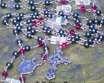 Sterling Silver Swarovski Rosary, Unbreakable, Unique, Catholic, Crystal and Pearl, Pink, Blue, Green, Black, Silver, Wire-wrapped