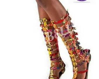 Ankara/Dashiki Gladiator Sandals