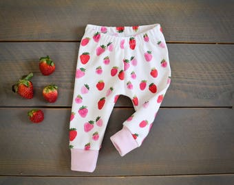 baby leggings strawberry, strawberries toddler pants, baby pants girl summer, fruit baby pants, strawberry pink infant pants