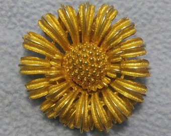 Coro Goldtone Spiral Flower Brooch~ Unusual and Gorgeous! 48 mm across