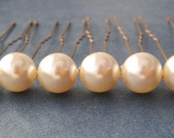 Ivory Creamrose Bridal Hair Pins, Wedding Hair Pins, Pearl Bobby Pins, Swarovski Hair Pins, Single Pearl Hair Pins - Set of 6 Hair Pins 10mm