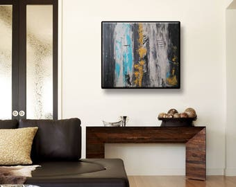 Original Abstract Acrylic Painting wall art modern art decor Grey Light Blue Mustard Yellow Black Abstract Wall Hanging