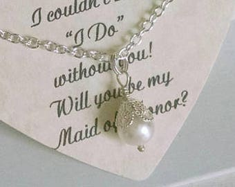 Asking Bridesmaids, Bridesmaids Gifts, Matron of Honor Proposal, Maid of Honor Gift, Will You Be My Bridesmaid, Pearl Necklace