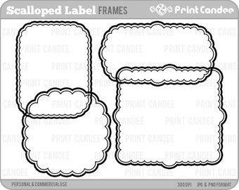 70% OFF SALE! - Scalloped Labels - Personal and Commercial Use - digital clipart frames clip art cute modern label