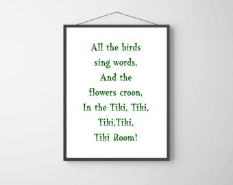Disney Ride Quote | Quote from Enchanted Tiki Room | Printable Disney Quote | Instant Download | Green and White | Black and White