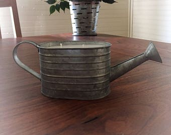 Galvanized watering can candle