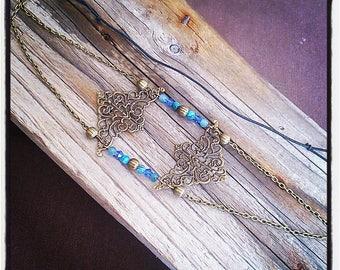 HeadBand jewelry head vintage bronze filigree and blue beads