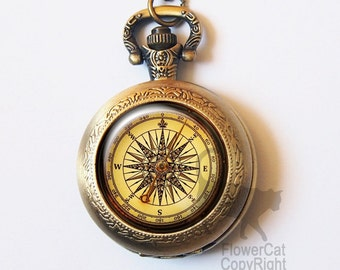 Vintage Compass Pocket Watch Necklace Antique Retro Navigation Gold Or Silver