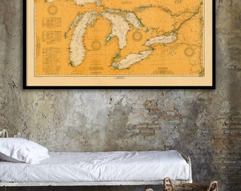 """Great Lakes nautical map, Vintage 1916 Great Lakes nautical map/chart reprint - 6 sizes up to 72""""x48 """""""