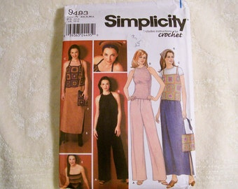 Simplicity Pattern - 9483 -Misses Pants, Skirt And Instructions For Crochet Tops, Bag And Scarf-Size A  XS,S,M,L-Factory Fold, Uncut Pattern