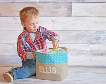 Burlap Easter Basket, Boys Easter Basket