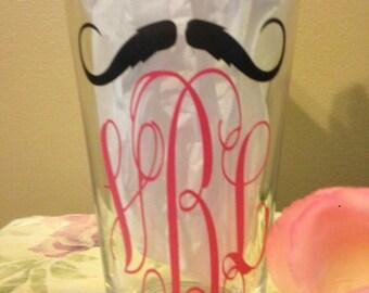 Monogram, Decals, Mustache Decals, Tumbler Decals, Cup Decals, Pink Vine Font Design