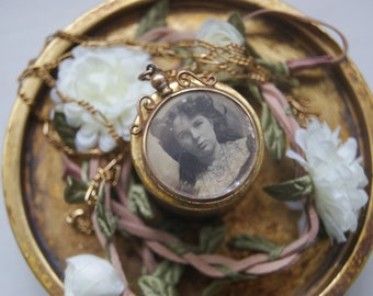 Vintage Rolled Gold Mourning Pendant With Necklace
