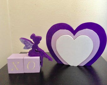 Wooden Purple Heart Stacker - Wooden Toy - Nursery Toy - Education Toy -Shelf Decoration