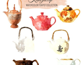 Watercolor Teapot Collection - Commercial and Personal Use