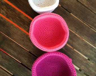 Three little baskets-crocheted in shades of pink