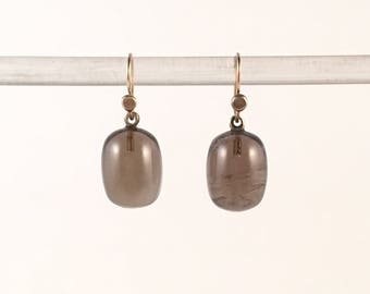 Solid 14k gold earring smoky quartz drop dangling ear gift for her gemstone jewelry quartz and gold earrings
