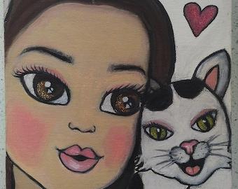Bespoke child + Pet portrait , oil on canvas ,painting