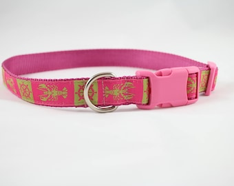 pink lobster dog collar, nautical beach themed dog collar, dog gift, dog accessory, woven jacquard ribbon collar by Bozies Bags