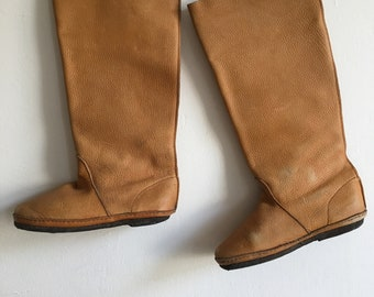 Handmade brown leather boots