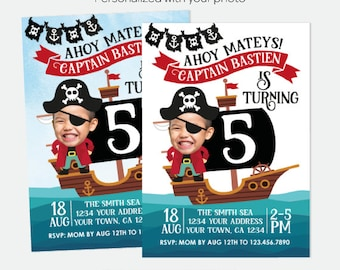 Pirate Birthday Invitation with photo, Pirate Birthday Party, Pirate Ship Invitation, Ahoy Matey, Personalized Invitation, 2 options