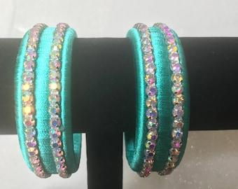 Dazzling Aquamarine Silk Thread Bangle set with Aurora Borealis Crystals
