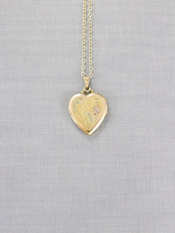 Gold Filled Heart Locket Necklace, Classic Hayward Vintage Pendant - Heart of Hearts