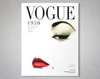 Vogue Cover January 1950 - Vogue Cover Poster - Poster Print, Sticker or Canvas Print / Gift Idea