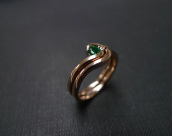 Emerald Ring, Emerald Engagement Ring, Emerald Jewelry, Set of TWO Emerald Diamond Emerald Engagement Ring, Wedding Ring Set, Rose Gold Ring