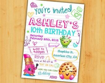 Shopkins birthday Invitation, Shopkins Invitation,, Shopkins themed party,Teen invitation. Shopkins notebook invitation.Shopkins teen