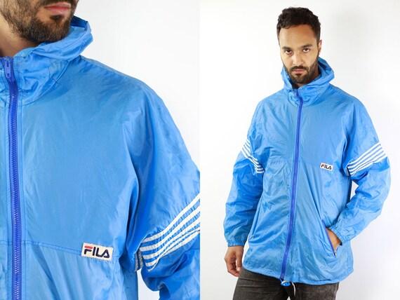Blue Fila Jacket Fila Festival Jacket Fila Rain Jacket Windbreaker Fila Shell Jacket Festival Fila Raincoat Blue Windbreaker Fila 90s Jacket