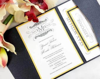 The Mekonnen Suite - Monogram Pocketfold Wedding Invitation Suite - SAMPLE