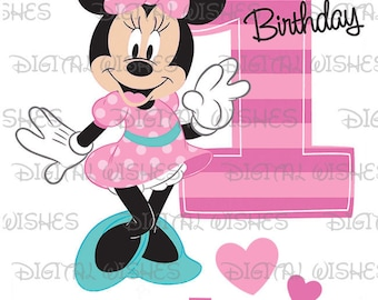 Minnie Mouse 1st Birthday stripes and hearts Image PERSONALIZED name digital iron on transfer clip art DIY for Shirt
