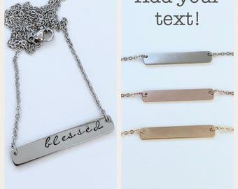 Bar necklace- name bar necklace- custom bar necklace- bar necklace personalized- gold bar necklace- rose gold bar necklace- silver bar