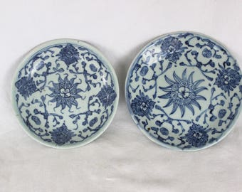 Near Pair of Chinese Blue and White Plates