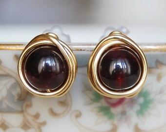 Garnet Studs , January Birthstone Earrings , Gold Filled Studs , Sterling Silver Posts , Gemstone Earrings , Wire Wrapped Studs