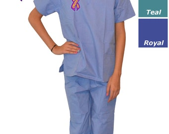 Kids Scrubs with Cure Epilepsy Ribbon Embroidery Design
