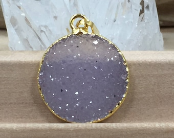 Round Druzy Pendant, Round Cluster Pendant, Agate Druzy Pendant, 18K Gold, Natural, Clear, PG0937O