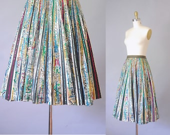 Saguaro painted mexican skirt  | 1950s novelty print skirt  |  50s circle skirt